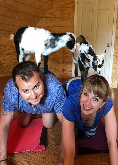 Dr. Spivak with her husband doing goat yoga